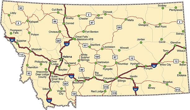 Montana Highway Map (vector) vector art illustration