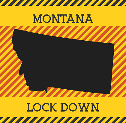 Montana Lock Down Sign. Yellow us state pandemic danger icon.