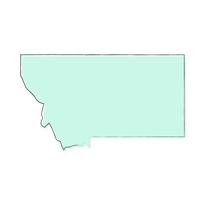 Montana map hand drawn on white background - Trendy design
