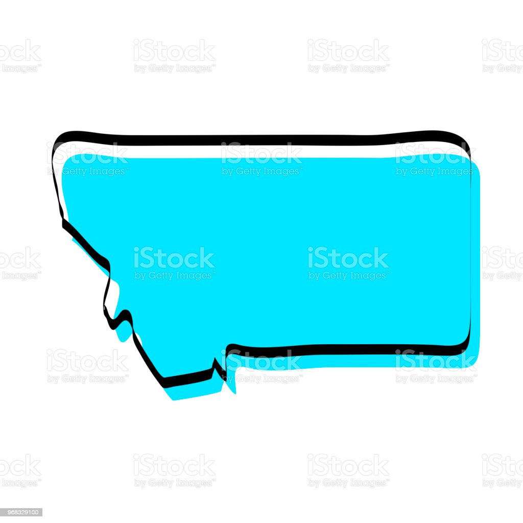 Montana Map Hand Drawn On White Background Trendy Design Stock