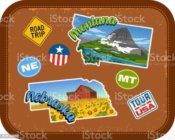 Glacier National Park Vintage Looking Travel Decal Luggage Label Sticker MT