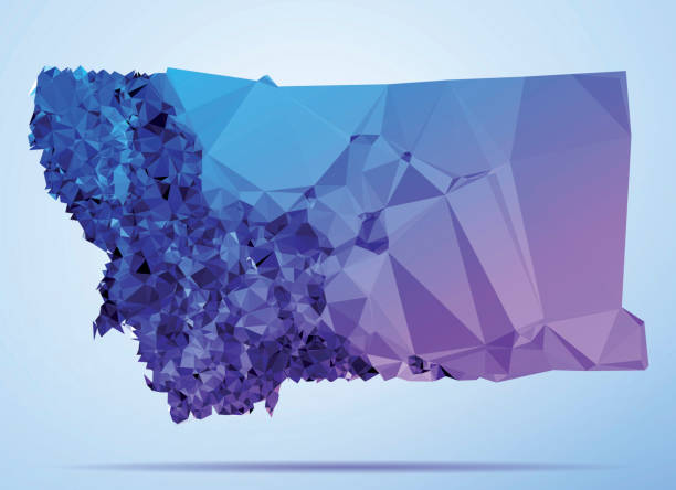 Montana Polygon Triangle Map Blue Abstract Polygon Triangle vector map of Montana. File was created in DMesh Pro and Adobe Illustrator on July 10, 2015. The colors in the .eps-file are in RGB. Transparencies used. Included files are EPS (v10) and Hi-Res JPG (6944 x 5035 px). map crystal stock illustrations
