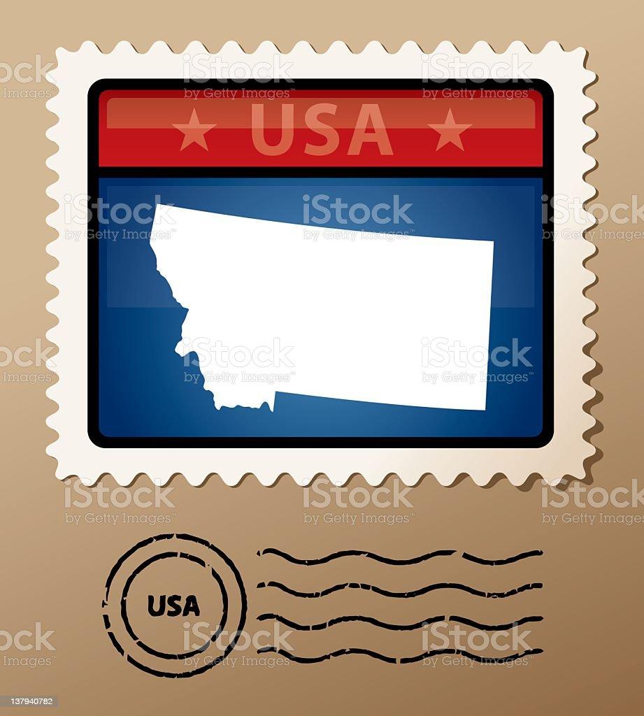 USA Montana postage stamp royalty-free stock vector art