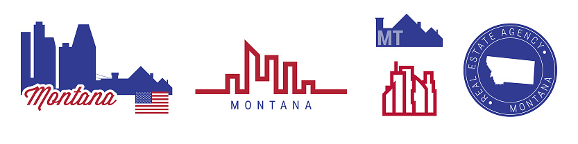 Montana real estate agency. US realty vector emblem icon set