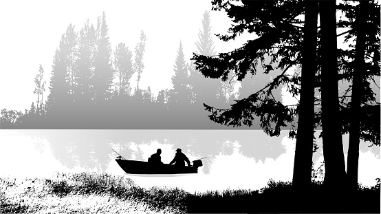 Two men sitting in a small fishing boat, riding down a beautiful river