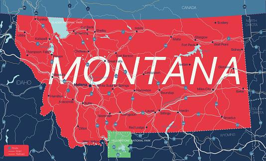 Montana state detailed editable map