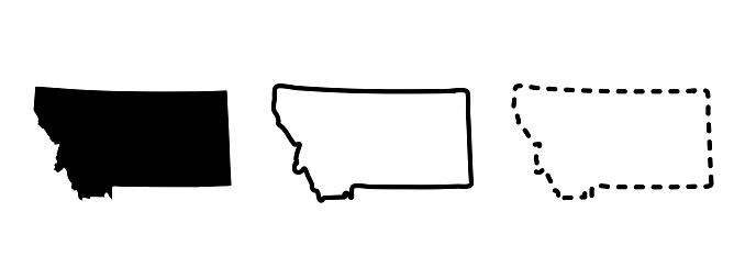 Montana state isolated on a white background, USA map