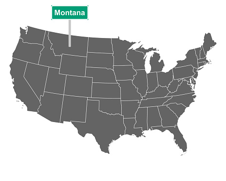 Montana state limit sign and map of USA