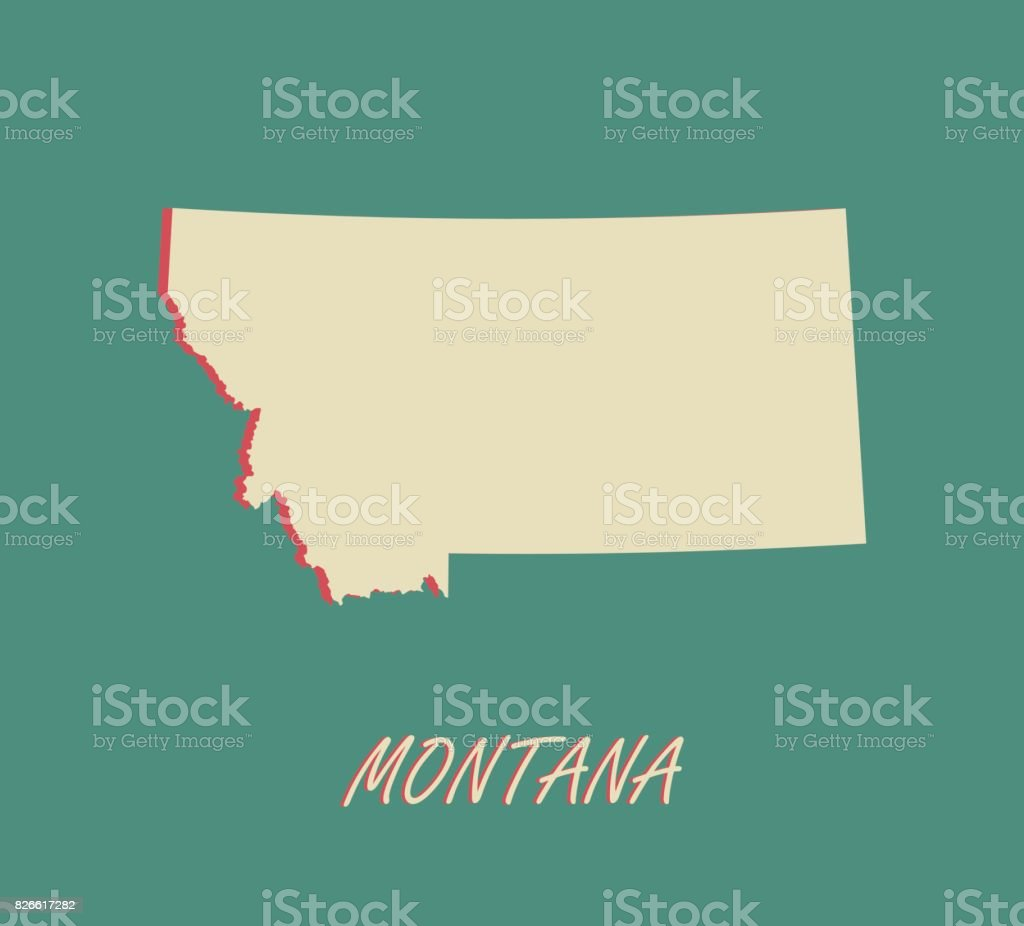 Montana State Of United States Map Vector Outlines In A 3d