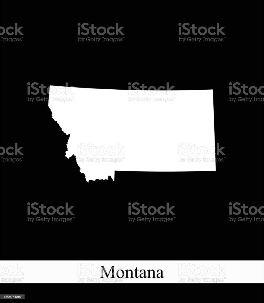 Amerika Karte Schwarz Weiß.Montana State Der Usa Karte Vektor Umriss Abbildung Schwarzweiß