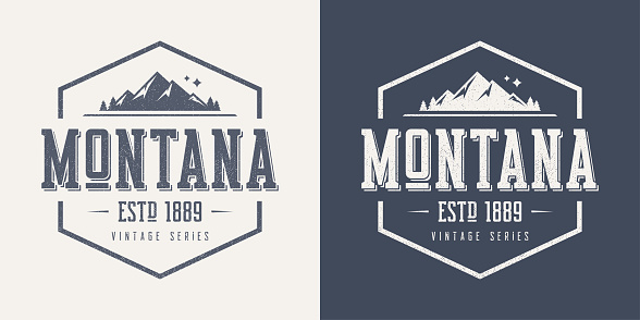 Montana state textured vintage vector t-shirt and apparel design, typography, print, logo, poster.