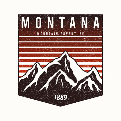 Montana State t-shirt design with mountains and slogan. Typography graphics for tee shirt with grunge. Montana apparel print.