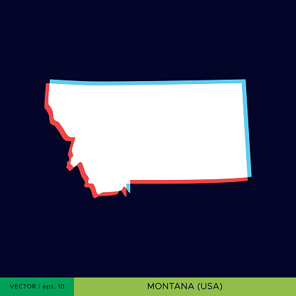 Montana - States of US Map On Dark Background Vector Stock Illustration Design Template. Two Color Style On The Outline.