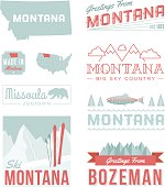 A set of vintage-style icons and typography representing the state of Montana, including Bozeman and Missoula. Each items is on a separate layer. Includes a layered Photoshop document. Ideal for both print and web elements.