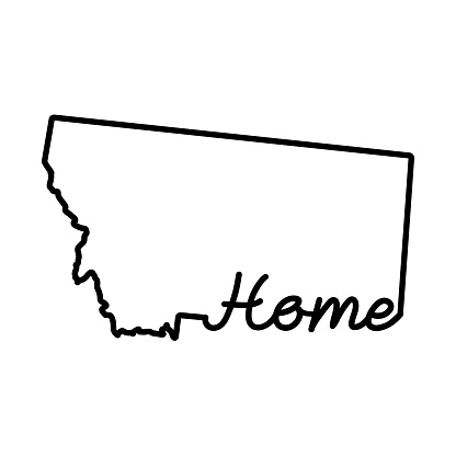 Montana US state outline map with the handwritten HOME word. Continuous line drawing of patriotic home sign