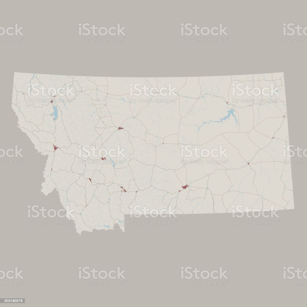 Montana Us State Road Map Stock Vector Art More Images of Aerial