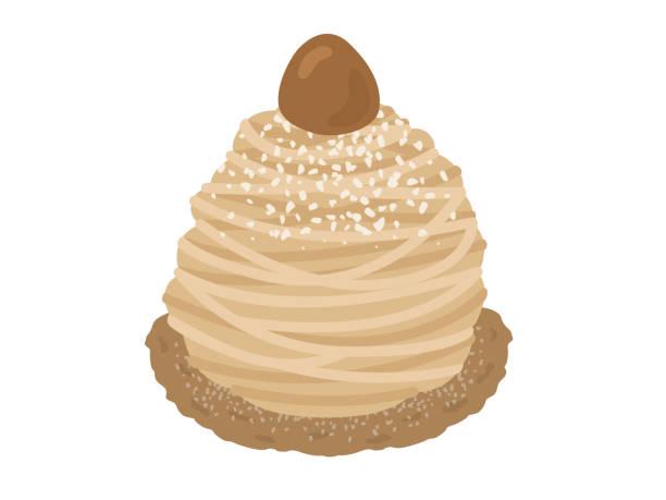 illustrazioni stock, clip art, cartoni animati e icone di tendenza di montblanc cake illustration. - monte bianco