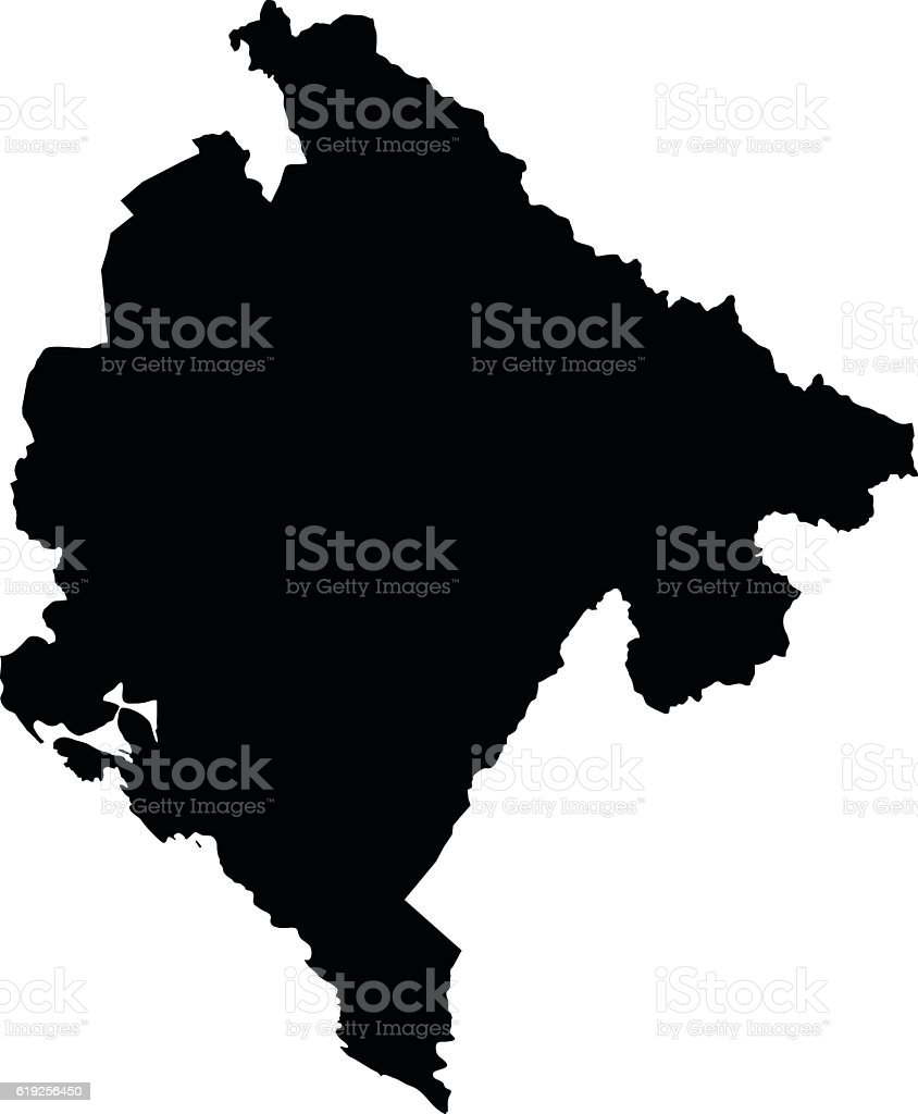 Montenegro black map on white background vector vector art illustration