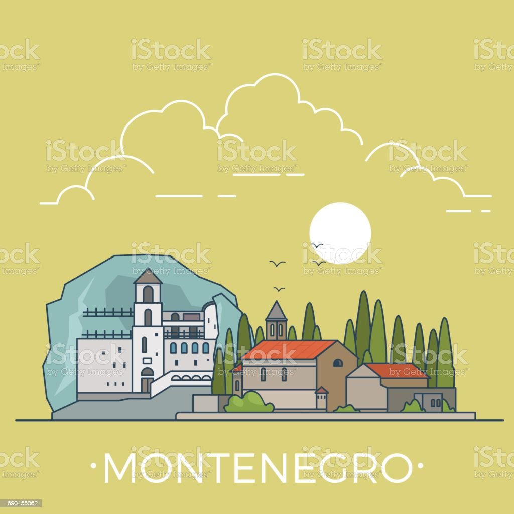 Montenegro country design template. Linear Flat famous historic sight; cartoon style web site vector illustration. World travel and showplace in Europe, European vacation collection. vector art illustration