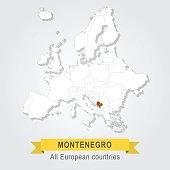 Montenegro. Europe administrative map.