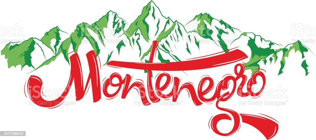 Montenegro letters vector art illustration