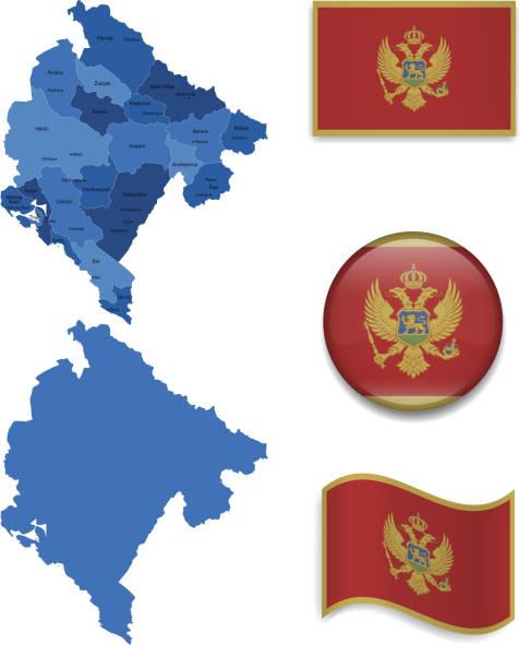 montenegro map and flag collection - bar 幅插畫檔、美工圖案、卡通及圖標