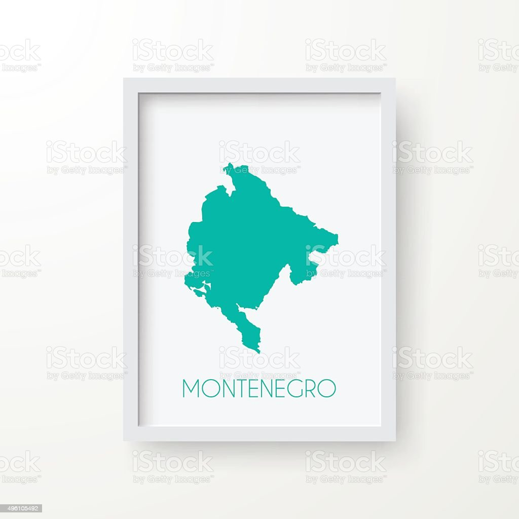 Montenegro Map in Frame on White Background vector art illustration