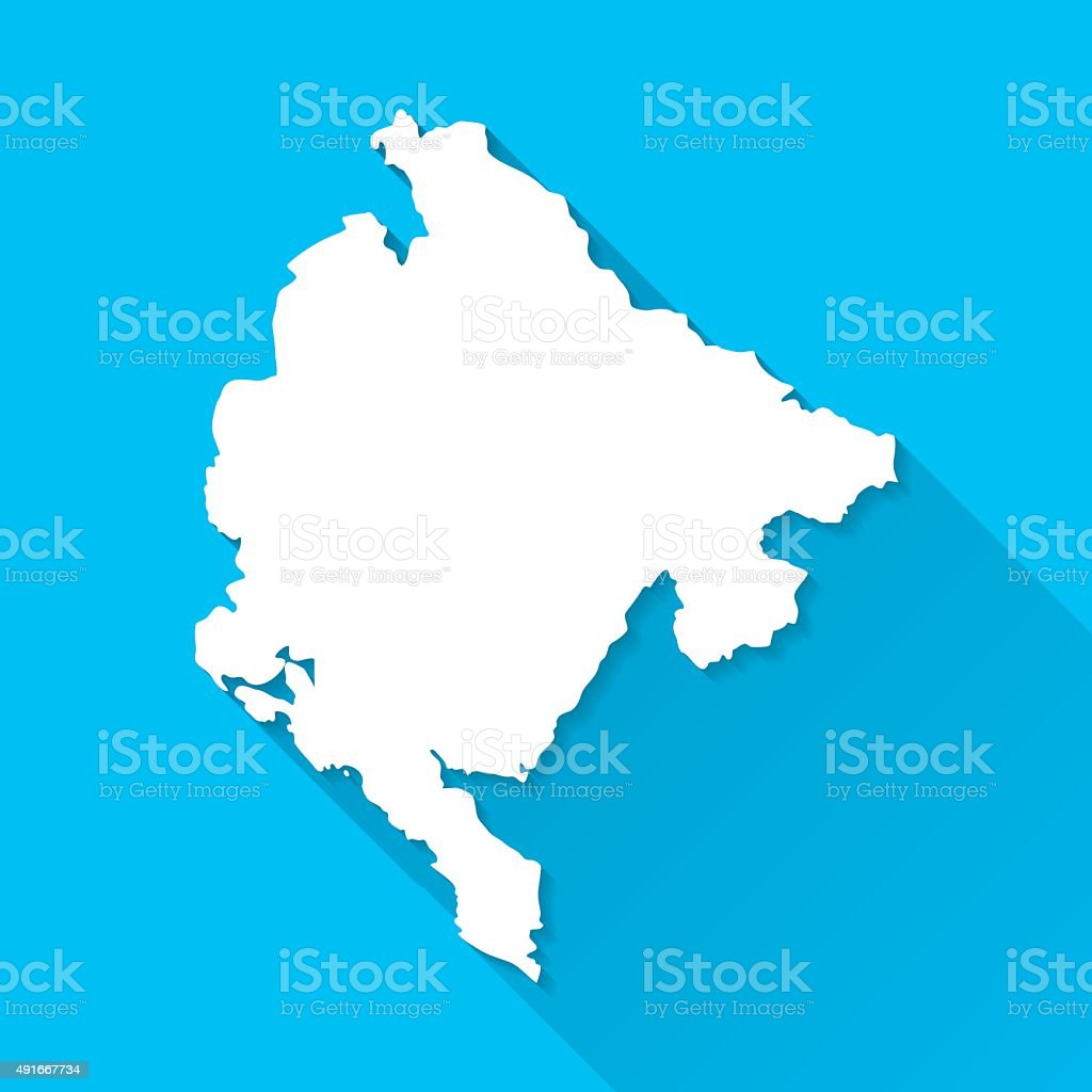 Montenegro Map on Blue Background, Long Shadow, Flat Design vector art illustration