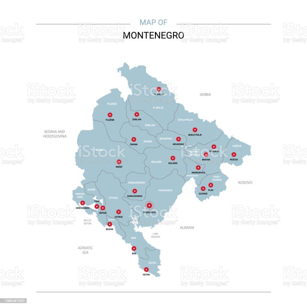 Bar Montenegro Karte.Montenegro Karte Vektor Mit Roten Stift Stock Vektor Art Und