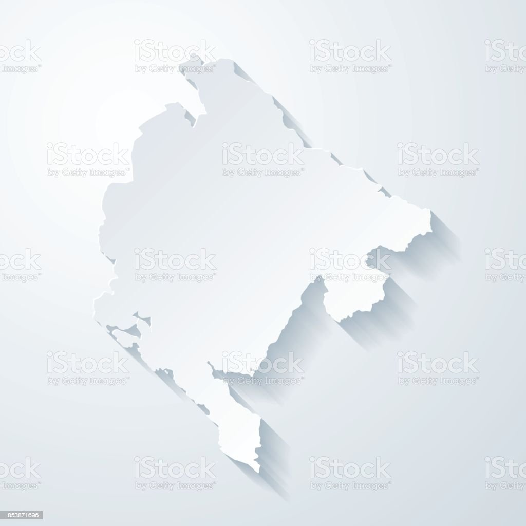 Montenegro map with paper cut effect on blank background vector art illustration