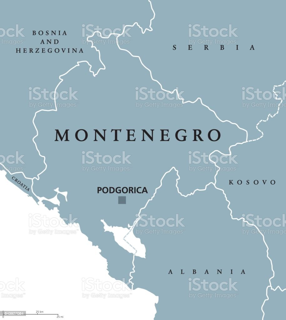 Montenegro political map vector art illustration