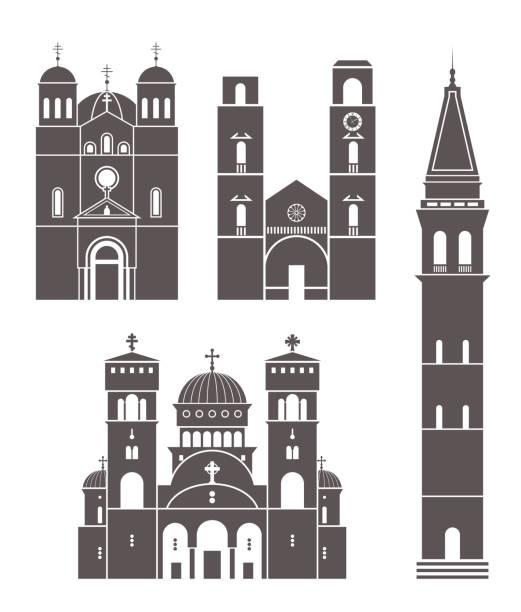 黑山設置。白色背景下的孤立黑山建築 - bar 幅插畫檔、美工圖案、卡通及圖標