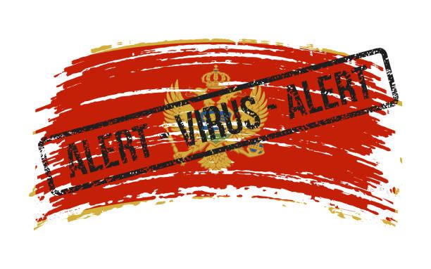 stockillustraties, clipart, cartoons en iconen met de gescheurde vlag van montenegro met een zegel met de woordenalarmvirus, vector - tears corona