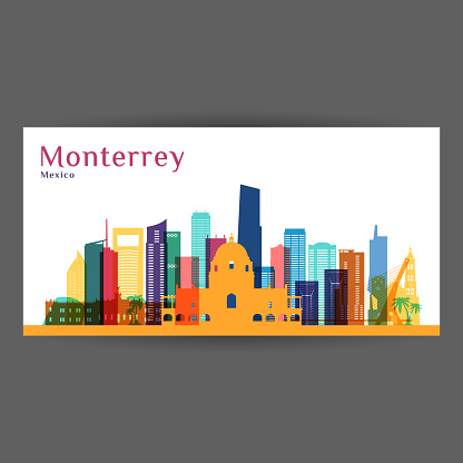 Monterrey city architecture silhouette. Colorful skyline. City flat design. Vector business card.