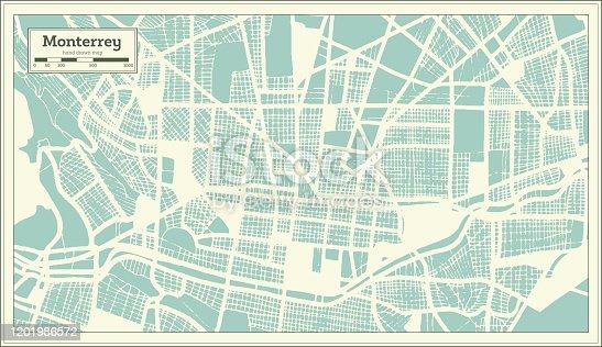 Mapa de la Ciudad de Monterrey México en Estilo Retro. Mapa de esquema.