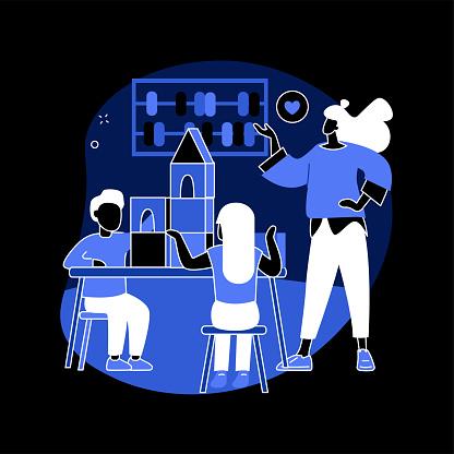 Montessori preschool abstract concept vector illustration.