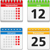 Month and day calendar icons on white