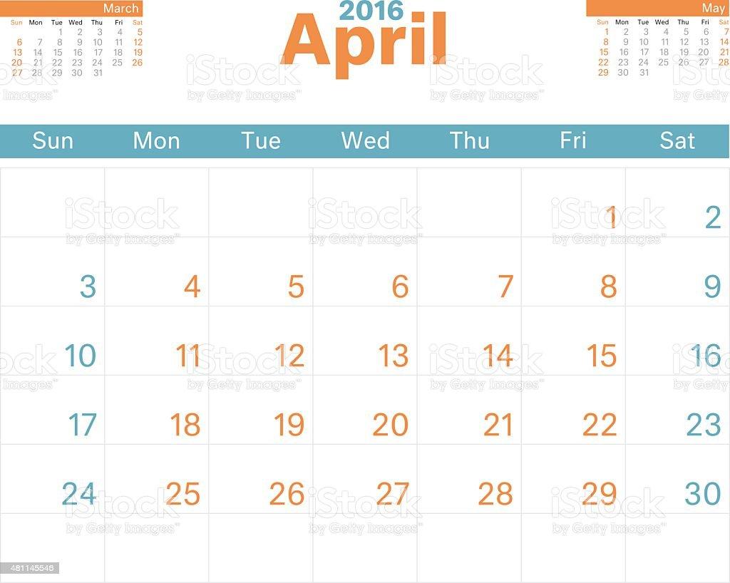 Month Calendar Apr 2016 vector art illustration