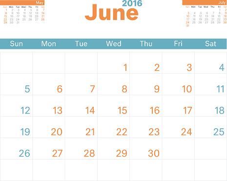 Month Calendar Jun 2016