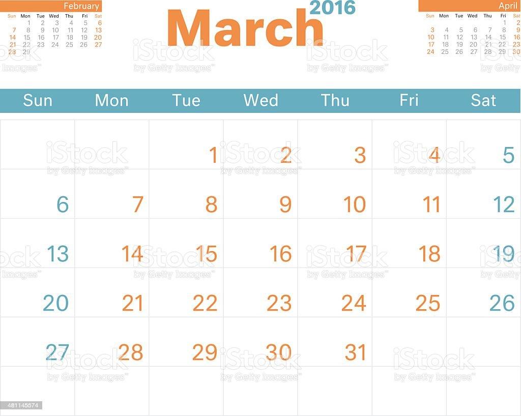 Calendario Di Marzo.Calendario Mese Di Marzo 2016 Immagini Vettoriali Stock E