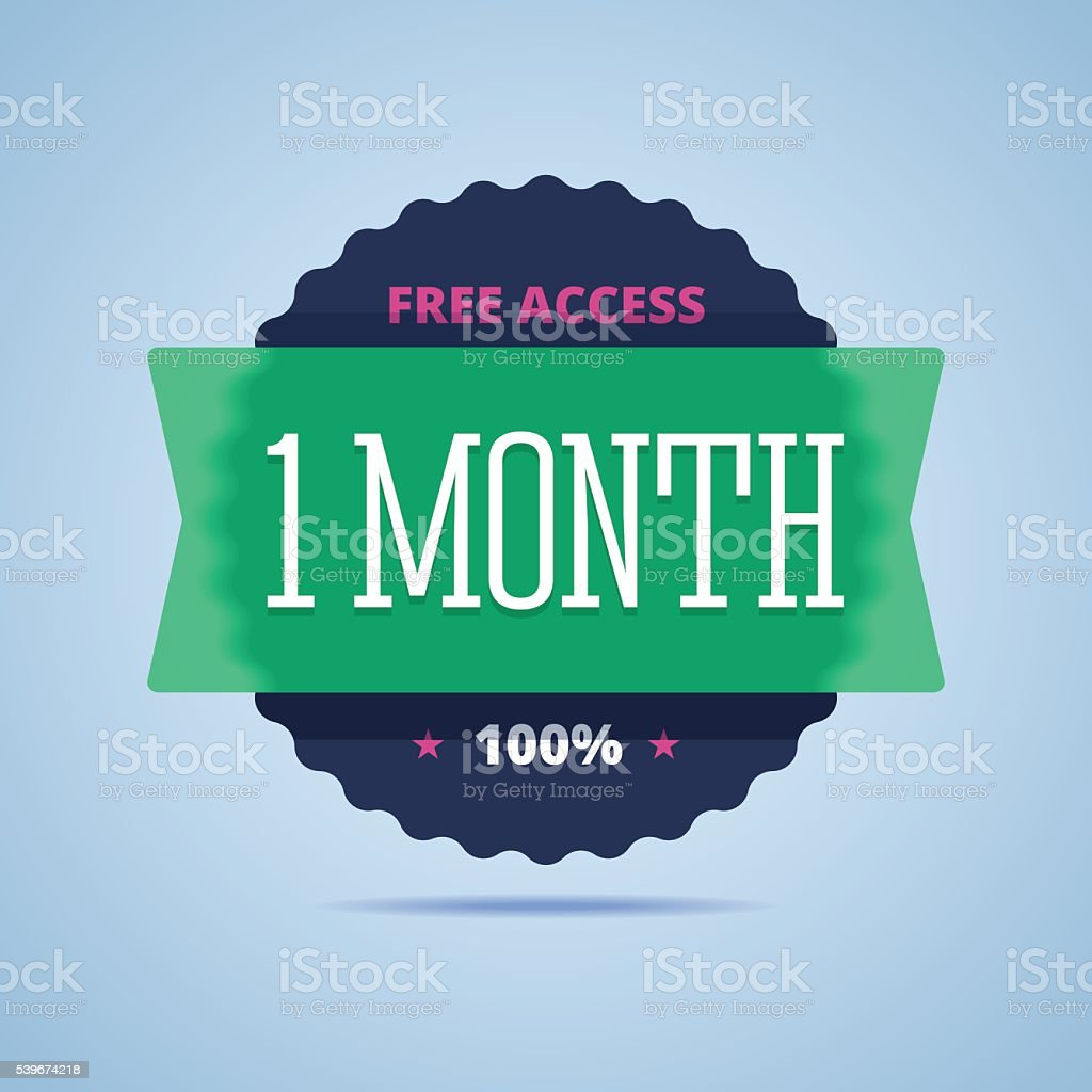 1 month free access badge. vector art illustration