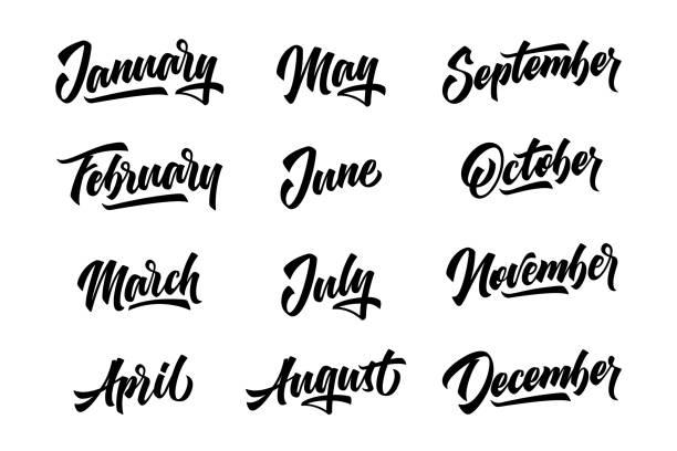 stockillustraties, clipart, cartoons en iconen met 12 maanden. handgeschreven belettering maanden van het jaar. vector illustratie. - december