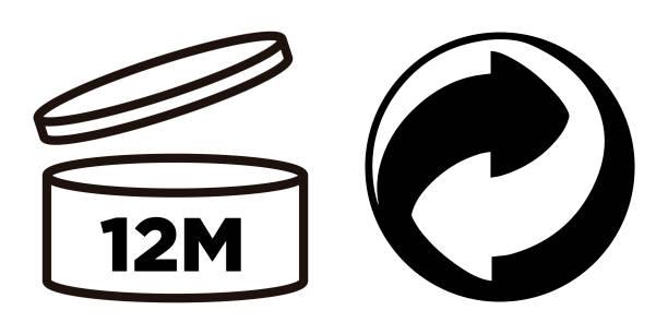 3 monate. zeitraum nach dem öffnen, pao-symbol. - altglas stock-grafiken, -clipart, -cartoons und -symbole