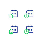Monthly and annual payment, finance calendar, time period, real estate mortgage loan, bell reminder, vector icon