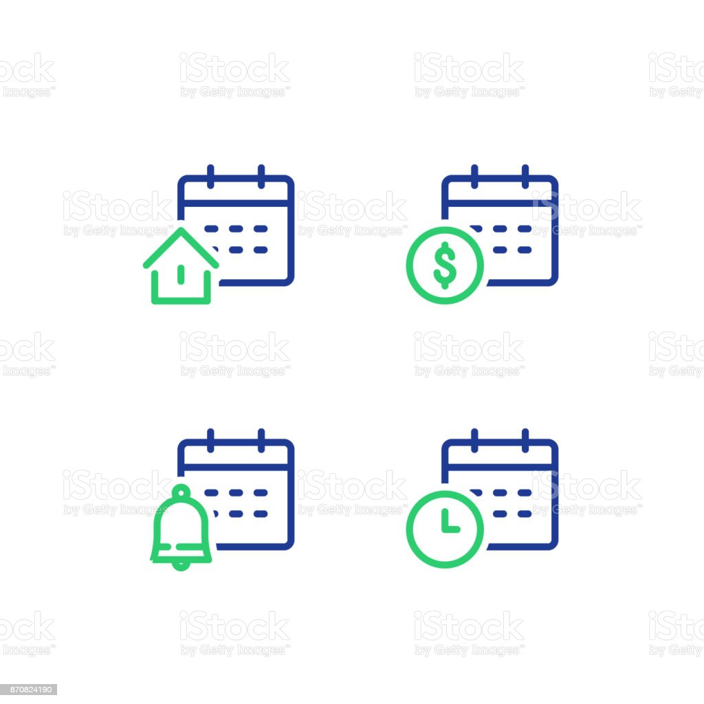 Monthly and annual payment, finance calendar, time period, real estate mortgage loan, bell reminder, vector icon vector art illustration