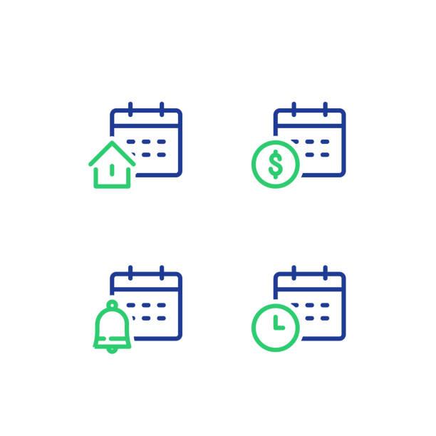 aylık ve yıllık ödeme, vade takvim, dönem, emlak konut kredisi, bell hatırlatma, vektör simgesi - yıllık olay stock illustrations