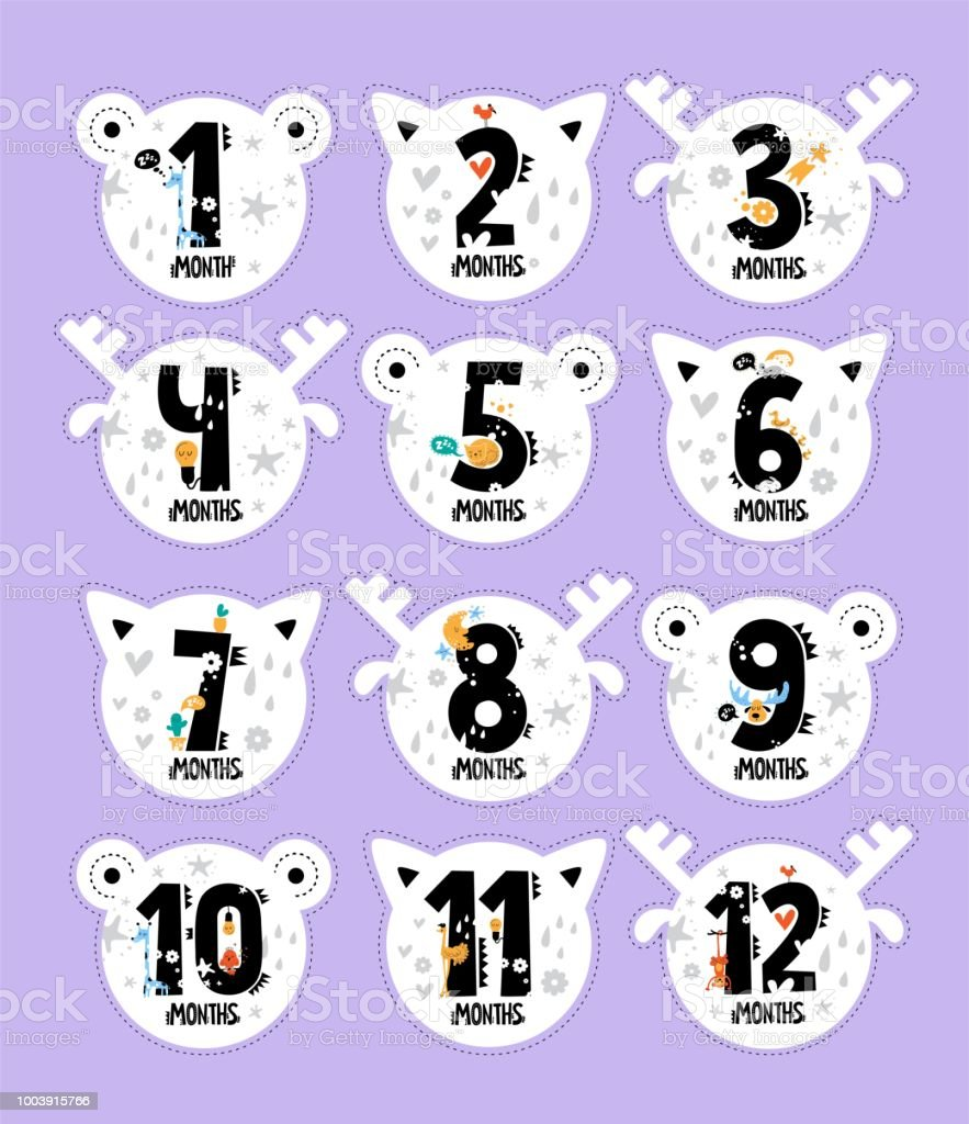 Monthly baby stickers in the form of a cat, deer, bears