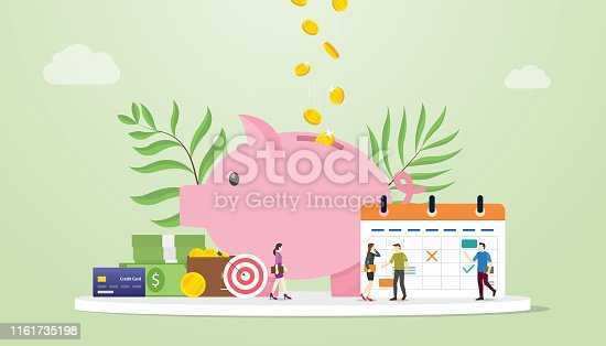 monthly budget planning concept with saving piggy icon and calendar with team people and modern flat style - vector illustration