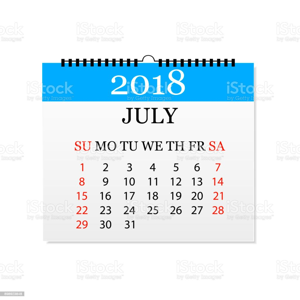 Monatskalender 2018. Abreißkalender für Juli. Weißen Hintergrund. Vektor-illustration – Vektorgrafik