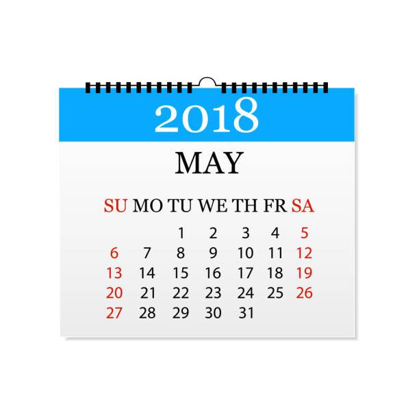 Monatskalender 2018. Abreißkalender für Mai. Weißen Hintergrund. Vektor-illustration – Vektorgrafik